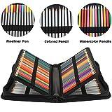Soucolor 160 Slots Pencil Case, PU Leather Large