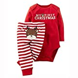 GRNSHTS Baby My First Christmas 2 Piece Red Bodysuit & Striped Pant Set (3-6 Months, Red)