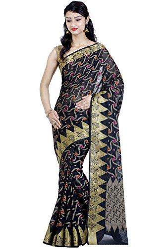 Chandrakala-Black-Banarasi-Cotton-Blend-Saree