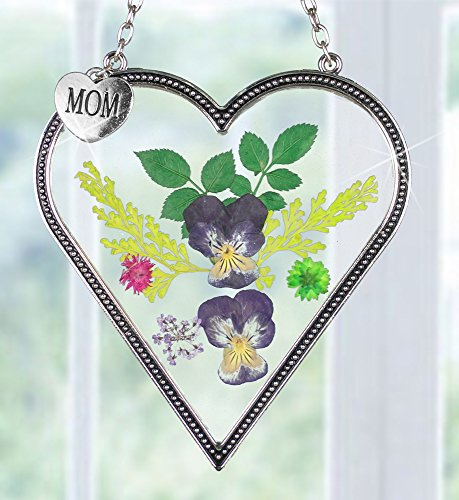 Mom Suncatcher (Mom Flower Sun Catcher - Mom Heart Shaped Sun Catcher Real Pressed Flowers and Silver Metal Hanging Charm)