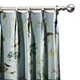ChadMade Rural Pastoral Print Window Curtain 50'' W x 63'' L, Pinch Pleated Blackout Lining Darpes Panel Bedroom Living Room Hotel Restaurant (1 Panel), Teal
