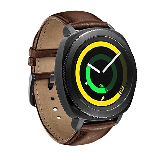 Aresh for Samsung Gear Sport Band, 20MM Genuine Leather Bands for Gear Sport Smartwatch SM-R600 /Gear S2 Classic/ Garmin Vivoactive 3 (Brown)