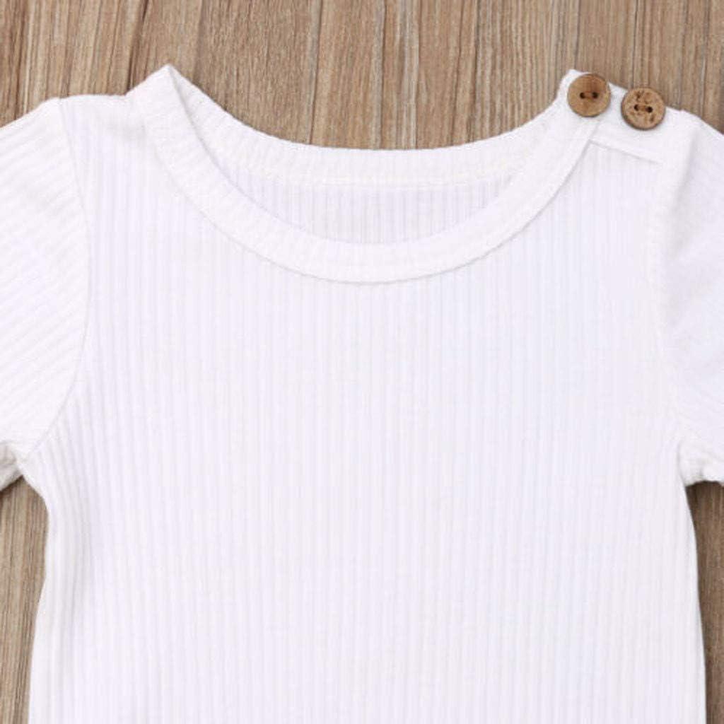 Cwemimifa Baby M/ädchen Junge 3Pcs Kleidung Set Kurzschluss H/ülsen Einfarbig T-Shirt und Floral Bow R/üschen Shorts Outfit Set