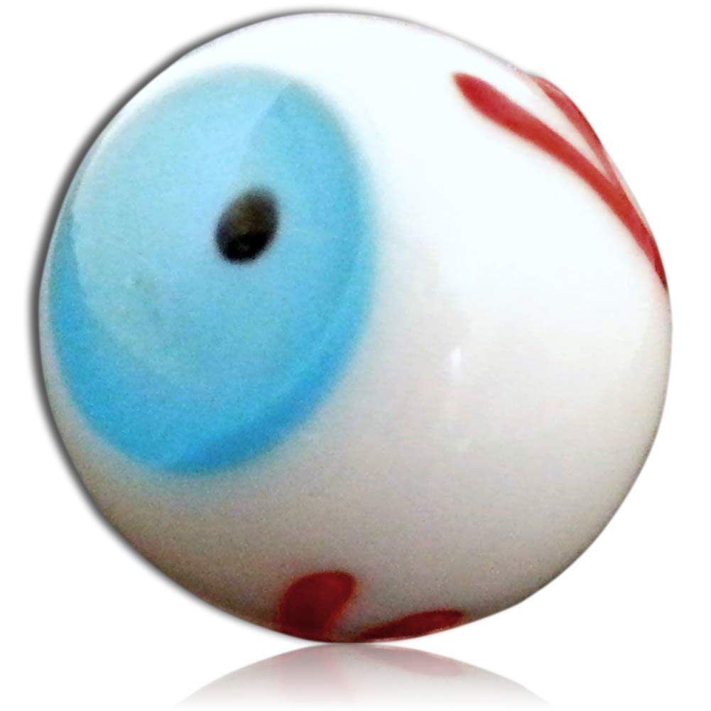 """Unique & Custom {13/16'' Inch} Set Of 3 Big """"Round"""" Opaque Marbles Made of Glass for Filling Vases, Games & Decor w/ Comedic Blood Shot Eye Ball Design [Blue, White, Red, Black & Brown Color] w/ Stands"""