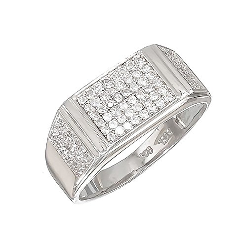 Size 12 Men's Solid .925 Sterling Silver Rhodium Plated Ring Iced Out with Real Micro Pave CZ Stones ()