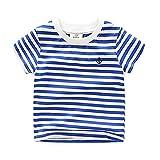Motecity Fashion Little Boys' Embroidery Blue Striped T-Shirt