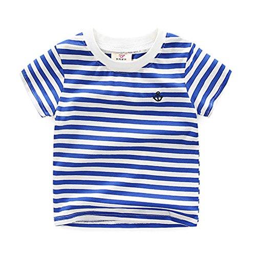 Blue Striped Shirt Costume (Fashion Little Boys' Embroidery Blue Striped T-shirt 5T)