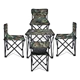 Cheap Super Convenient Set Camping Bundle Contains 4 units Quad Chairs + 1 unit Table by J&D Outdoor Depot (Camouflage)