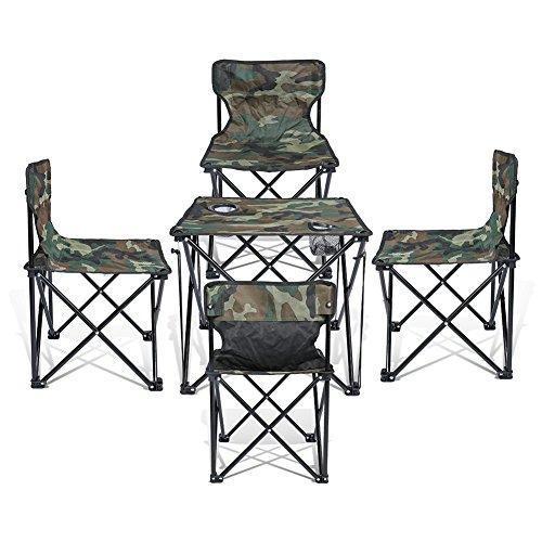 Super Convenient Set Camping Bundle Contains 4 units Quad Chairs + 1 unit Table by J&D Outdoor Depot (Camouflage)