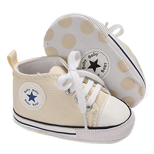 Save Beautiful Baby Girls Boys Canvas Sneakers Soft Sole High-Top Ankle Infant First Walkers Crib Shoes (6-12 Months Infant, A13-beige)
