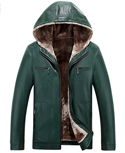 Outdoor Winter Fur Jacket Leather RUIYUNS Sheepskin Hooded green Parka Faux Trench Coat Thick Lining Men's Warm Agate wOOz8