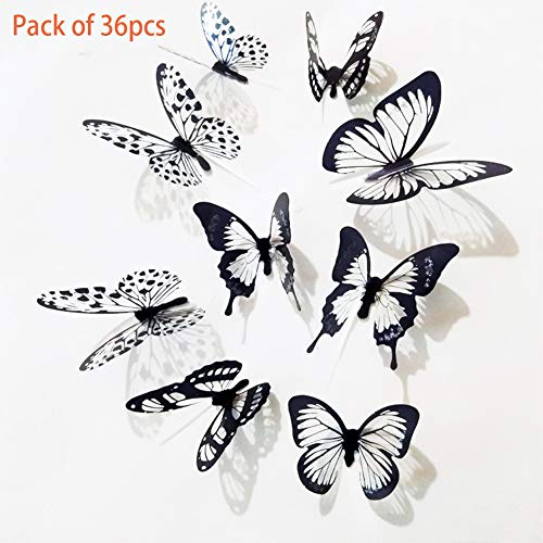 Diy Door Decorations For Halloween (Eanpet Halloween Decoration Wall Sticker DIY Wall Decal Self Adhesive Window Door Home Decor for Party Store Restaurant Hotel Supermarket (3D White and Black Butterfly)