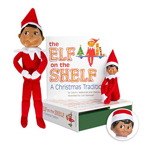 amazoncom elf on the shelf bundle the elf on the shelf christmas tradition book with dark skin brown eyed boy scout elf and boy plushee pal toys - Elf On The Shelf Christmas Tradition