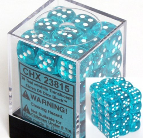Chessex Dice d6 Sets: Teal with White Translucent - 12mm Six Sided Die (36) Block of Dice]()