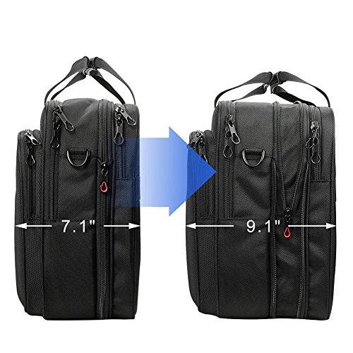 KROSER 18.5'' Laptop Bag Laptop Briefcase Fits Up To 18 Inch Laptop Water-Repellent Computer Bag Shoulder Bag Expandable Extra Large Capacity For Travel/Business/School/Men-Black by KROSER (Image #1)