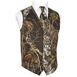 HBDesign Mens 2 Piece 4 Button Vests Outerwear Camouflage Color (Vest+Tie)-44R