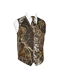 HBDesign Mens 2 Piece 4 Button Vests Outerwear Camouflage Color (Vest+Tie)