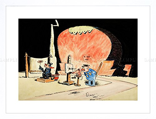 KRAZY KAT WITH DAISY MOUSE GEORGE HERRIMAN CARTOON COMIC FRAMED PRINT F12X8539 (Krazy Daisy)