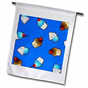 Janna Salak Designs Sweet Treats - Cute Cupcake Print Blue and Chocolate on Blue - 18 x 27 inch Garden Flag (fl_43145_2)