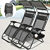 4-EVER Zero Gravity Outdoor Lounge Chair Adjustable Folding Patio Reclining Chairs w/Sunshade Canopy+ Snack Tray for Travel Pool Yard Beach 2 PCS -Black