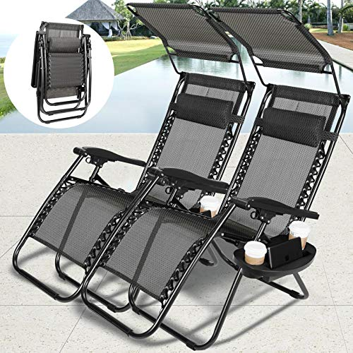 4-EVER Zero Gravity Outdoor Lounge Chair Adjustable Folding Patio Reclining Chairs w Sunshade Canopy Snack Tray for Travel Pool Yard Beach 2 PCS -Black