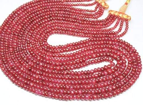 Beads Bazar Natural Beautiful jewellery Natural Blood Red Ruby Smooth Rondelle Micro Gemstone Craft Loose Beads Strand 9