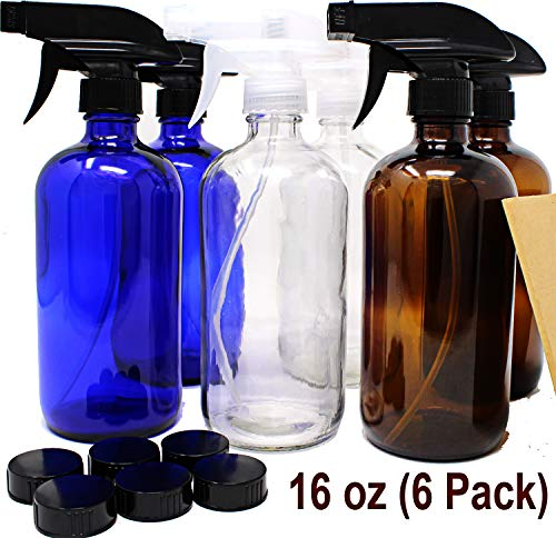 Spray Bottle Purpose (16 oz Glass Spray Bottles - 6 Pack - with Labels Refillable Container in Clear Amber Cobalt Blue Glass Boston Bottle for Cleaning Products, Aromatherapy Trigger Spray Bottle Dispenser)