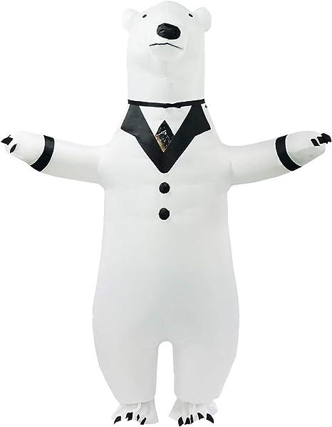 PARAYOYO Disfraz de Oso Polar Inflable Adulto Traje de Cuerpo ...