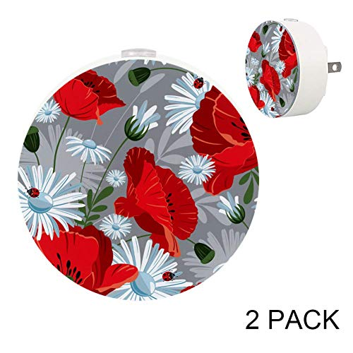 - LORVIES Poppies and Daisies Pattern Plug in LED Night Light Auto Sensor Smart Dusk to Dawn Decorative Night for Bedroom, Bathroom, Kitchen, Hallway, Stairs,Hallway,Baby's Room, Energy Saving, 2 Pack