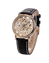 KS Mens Elegant Skeleton Mechanical Black Leather Band Rose Gold Dial Wrist Watch KS023