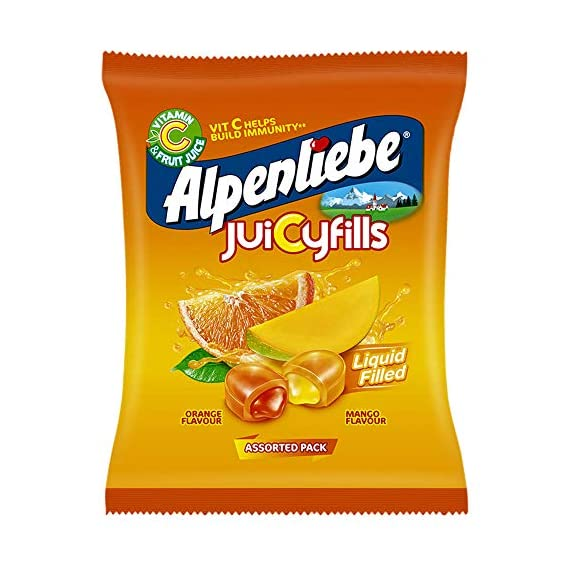 Alpenliebe Juicy Fills, Orange & Mango Flavour, Assorted Candy Pouch, 380 g, 100 pc