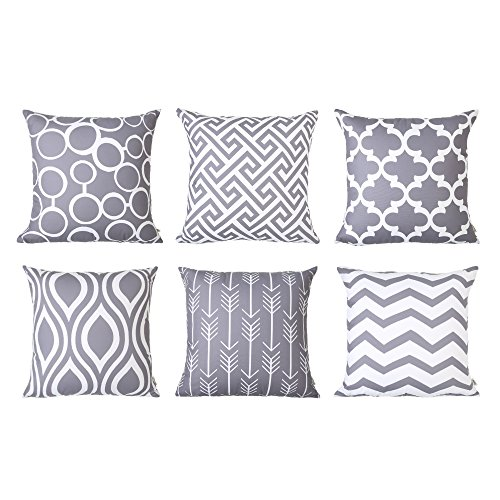 Throw Outdoor Pillows Paisley (Top Finel Square Decorative Throw Pillow Covers Soft Canvas Outdoor Cushion Covers 18 X 18 for Sofa Bedroom, Set of 6, Grey)