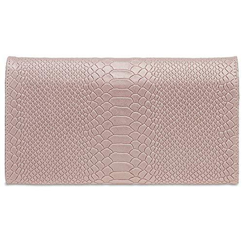 Party con Leather rosa Handbag Womens stampa Genuine Clutch coccodrillo Caspar Tl722 taSw0qqg