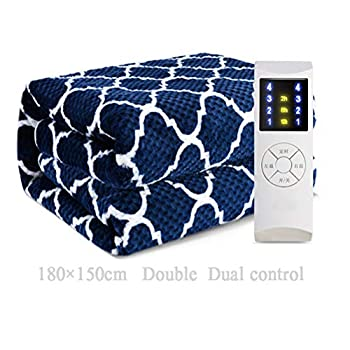 Image of Home and Kitchen JBailmx Electric Heated Throw Overblanket - Soft Plush Thicken Flannel Blanket W/Waffle Pattern, Timer 12 Control, Heat Settings, Luxurious Bedding Heated Throw Mattress,Blue,Queen/180×150Cm