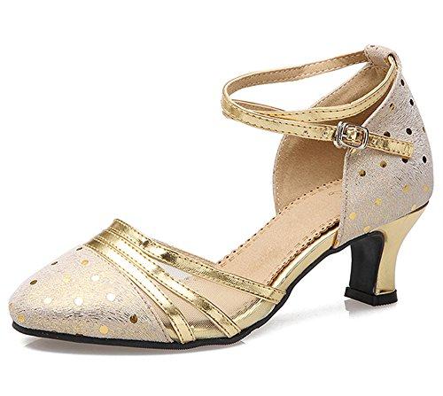 Brautschuhe Damen Gold Latein mit Tanzschuhe Elegant Abendschuhe Leder Dayiss Absatz 6YpxAq5wx