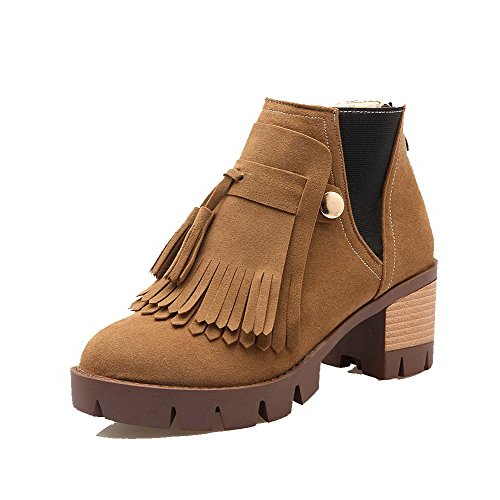 AgooLar Women's Zipper Kitten-Heels Imitated Suede Solid Low-Top Boots Yellow ZNTNufpgz