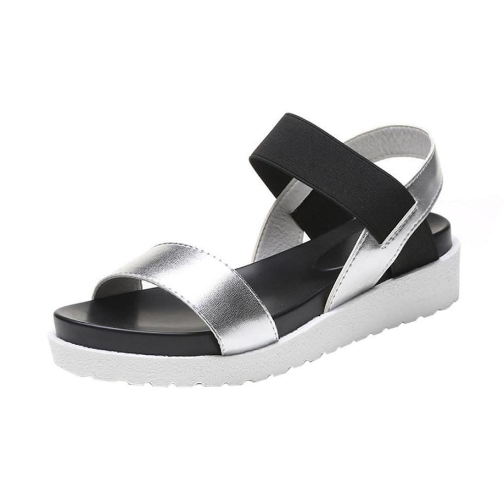 Tomatoa Frauen Wandern Sandalen, Damen Outdoor Sport Wasser Schuhe Sommer Flach Cross-Tied Beach Sandalen Open Toe Walking Schuhe (Silber, 38)  38|Silber