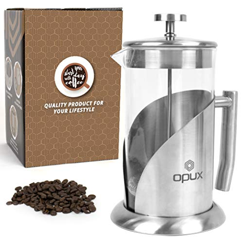 OPUX Insulated French Press Coffee Maker | Stainless Steel 4 Cup Coffee Press Pot with 4 Layer Filters for Pour Over…
