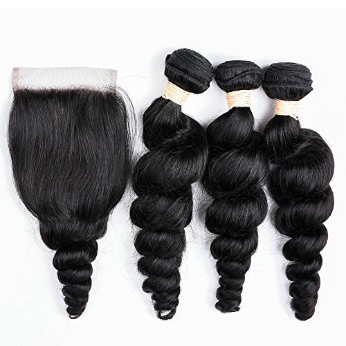 Allrun hair Brazilian Loose wave 3 bundles 7A Unprocessed Brazilian Virgin Hair With a Free Part Lace Closure 100% Human Hair Weave Brazilian Straight Hair 14 16 18+12inch Closure (16 Straight Teeth)