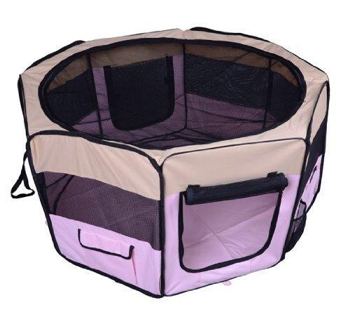 homcom Box per animali - Recinzione per cuccioli - Cuccia, dimensioni: 125 x 125 x 58 cm, Colore : rosa
