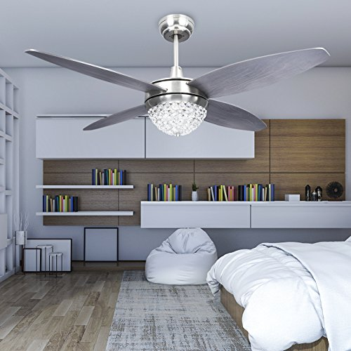 Modern Crystal Ceiling Fan With LED Light Remote Control Indoor Home Decoration Living Room Bedroom Quiet Fans Chandelier With 4 Wood Reversible Blade 48 Inch,Tropicalfan