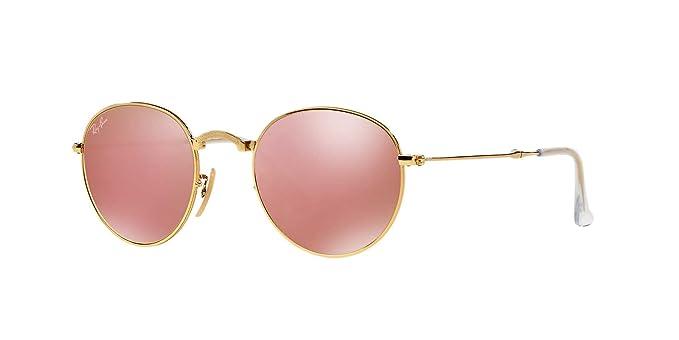 7ba1c451534f0 Ray-Ban Round Metal Folding Sunglasses (RB3532) Gold Brown Metal -  Non-Polarized - 50mm  Amazon.co.uk  Clothing
