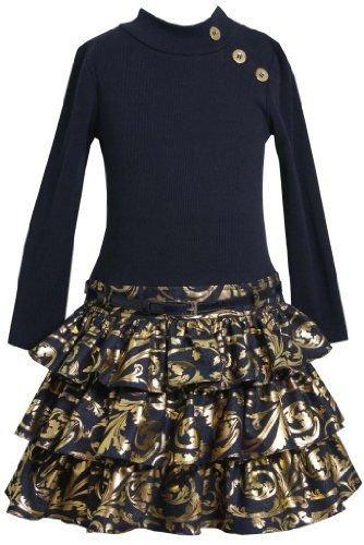 Dropped Waist Wedding Dress - Big Girls Plus Size Navy Gold Belted Knit to Tier Drop Waist Dress, Navy, 12.5
