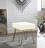 Iconic Home FON2972-AN Catania Contemporary Modern Square Ottoman Pu Leather Upholstered, Cream