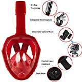 Snorkel Set with Foldable Snorkel MASK,Foldable 180 Panoramic View Free Breathing Full Face Snorkeling Mask,Foldable Adjustable Head Straps Snorkel Mask Training Dive Equipment for Kids(S/M,Red)