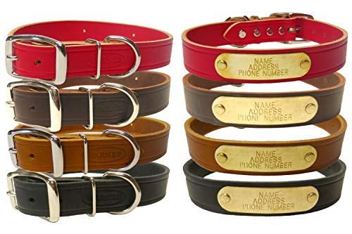 "Warner Brand Cumberland Leather Dog Collar + Free Engraved Brass ID tag (21"" Fits 15-19"" Neck, Rich Brown)"