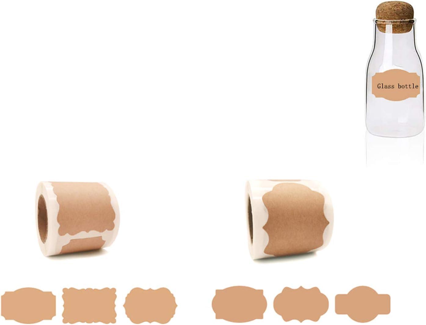 Barattoli,Regali 300 pezzi Etichette Adesive di Carta Kraft Naturale,Sticker Tag Etichette,Kraft Sigilla Etichette Regalo per Buste,Etichette Vuote Adesive Regalo per Decorazioni Bottiglie