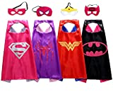 Kids Dress Up Costumes For Girls Super Hero Capes And Mask Set of 4 Party Favor