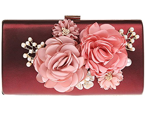 KAXIDY Wedding Flower Satin Women Bag Evening Clutch Wine red Party Clutch Handbag rx4qrS7Fw
