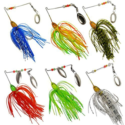 Belloc 6pc Fishing Lure - Fishing Hard Metal Spinner Bait Set for Bass - Fishing Baits Spinnerbait Pike Bright Colors